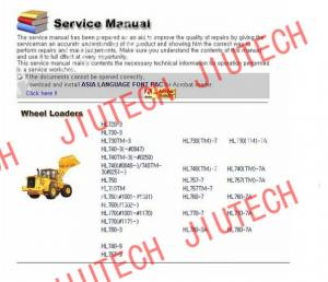 China Auto Diagnostics Software Hyundai Heavy Service Manuals 2012 For Excfvators Crawler on sale