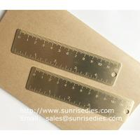 Solid brass bookmark ruler with graduation, vintage brass mini ruler with scale mark