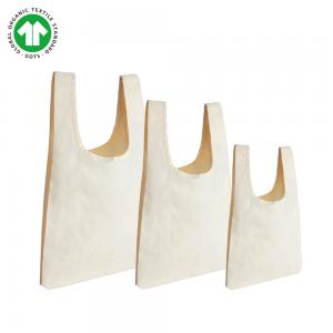 China OEM Convenient Fancy Organic Cotton Tote Bags Bulk Natural White Color With Logo on sale