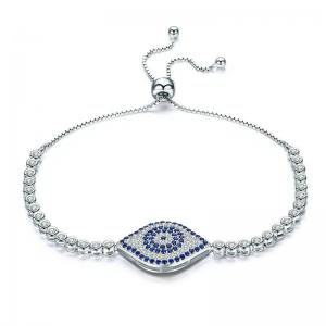 China 925 Sterling Silver Adjustable Link Chain Bracelets With Lucky Blue Evil Eye on sale
