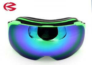 China Adult Polarized PC Lens Snowboard Ski Goggles With Embroidery Strap Green Frame on sale