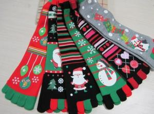China Christmas decoration ornaments gifts,Christmas tree  stockings, five fingers socks, animated cartoon style on sale
