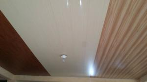 China 20cm x 6mm Flat PVC Ceiling Panels No Aspiration Wooden Design on sale