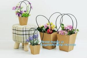 China Promotional printing brown paper fresh flower carrier waterproof kraft paper bags with handle,Flower carrier paper bag on sale