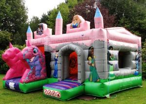 China PVC Pink Dragon Cartoon Princess Combo Inflatable Bounce House With Roof Kids Play on sale
