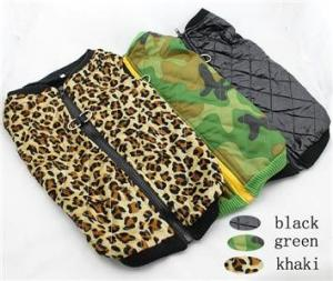 China Outdoor Winter Dog Coats Fleece Leopard Grain Pets Clothing XXl XS on sale