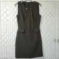 China Plain Style Ladies Elegant Dresses , Flap Zipped Sleeveless Long Vest Coat on sale