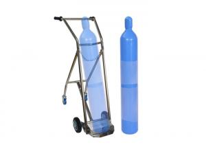 China Hospital Stainless Steel Double Feet Oxygen Cylinder Trolley For Medical Center on sale