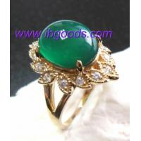 14K Solid Gold Natural Green Chalcedony Ring