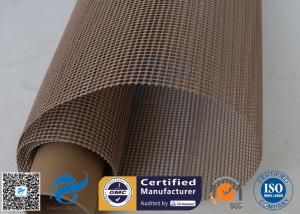 China PTFE Coated Fiberglass Mesh Fabric Brown 4X4MM Paper Industry Conveyor Belt 260℃ on sale