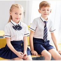 Kids British Kindergarten Primary School Uniform White Short Sleeve Shirt Sets