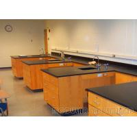 Wood Color Steel Structure Modular Laboratory Furniture / Lab Bench With Black Worktop