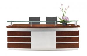 China Curved Office reception desk in Walnut wood and White finish with Glass counter in cheaper price on sale