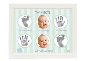 China Lovely Cute Baby Twins Hand And Footprint Picture Frame Non Toxic Ink Pad on sale