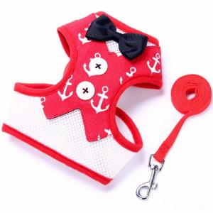 China Bow Knot Bowtie Dog Harness Cat Vest Adjustable Breathable Mesh Escape Proof on sale