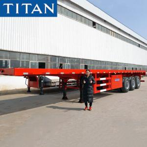 China 40 ft shipping container tri axle flatbed trailers for sale near me on sale