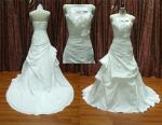 Forme A - alinhe silhuetas reais do vestido de casamento da amostra do tafetá do laço/vestido nupcial