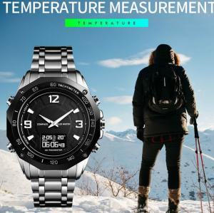 China Men Luxury Compass Temperature dual time Watch Stainless Steel Waterproof Pedometer Sport Analog Digital Watch on sale