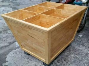 China Custom Wooden Supermarket Rice Storage Wooden Display Rack / Rice Holder Container For Store on sale