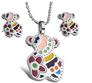 China OEM Eco friendly Cute Bear Shiny finished Color Enamel Stainless Steel Jewelry Sets for kids  on sale
