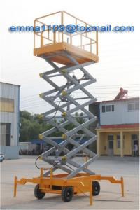 China 500kg SJY0.5-14 Scissor Mobile Working Platform 16m Working Height With 4 Wheels on sale