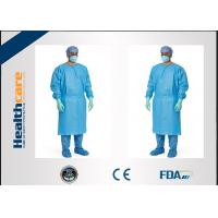 China Red / Green Disposable Surgical Gowns Against Liquid Biodegradable Elastic Cuff 16-80gsm on sale