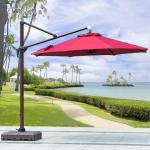 Beer Starbucks Outdoor Garden Patio Umbrella With Red Crank Handle Led Light