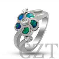 sterling silver925 jewelry necklace ring with synthetic opal