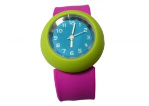 China Green Case Rose Bracelet Slap Silicone Watches with Silk Printed Logo 230*30*2mm on sale