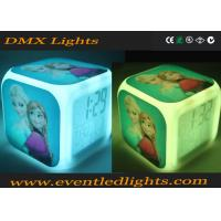 7 Colors Changing Led Cube Alarm Clock For Room , Promotion Glowing Alarm Clock With Light