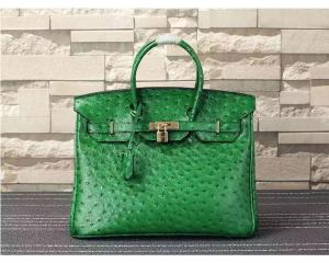 China ladies high quality 35cm green ostrich grain cowskin leather designer bags top selling leather handbags L-RB4-17 on sale