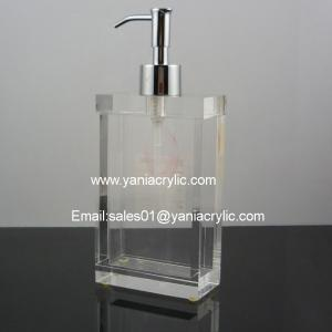 China High Thickness Rectangle Liquid Acrylic Soap Dispenser Decorative on sale
