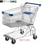 4 resistentes ruedan la carretilla de las compras del alambre de metal para el cinc del supermercado que platea 150L
