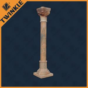 China Cloudy Rosa Craftsman Natural Stone Column Red For House Decoration on sale