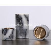 China Cloudy Grey Marble cylinder Candle Holder stone candlestick