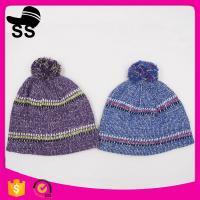 20*24+5cm 100%Acrylic 80g Yiwu Winter Stock Low Price Striped Headwear Ladies Girls Caps Winter Knitting Hats