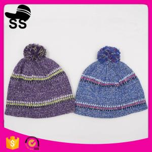 China 20*24+5cm 100%Acrylic 80g Yiwu Winter Stock Low Price Striped Headwear Ladies Girls Caps Winter Knitting Hats on sale