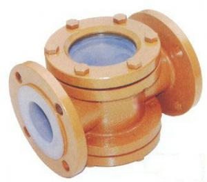 China Acid Resistant Fluorine Lined Sight Glass for chemical industry -20℃ - 120℃ on sale