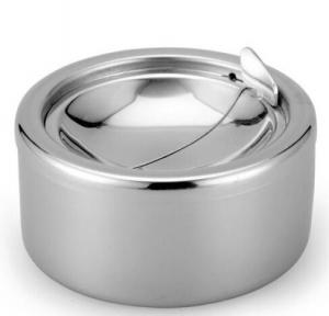 China Stainless Steel Cigarette Ashtray Lid Silver Windproof Ashtray on sale
