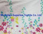 White Border Flower Custom Cotton Fabric For Blouses Skirts , Flower Print Fabric