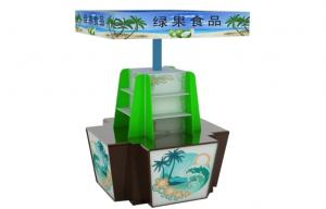China Green Food Offset Paper / Cardboard Counter Store Display Unit Free Standing on sale