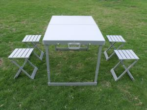 Weather Resistant Aluminum Folding Camping Picnic Table Chairs - Picnic table legs for sale