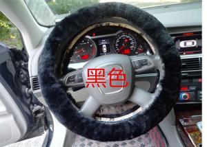 China Black Genuine Sheepskin Steering Wheel Cover With Australia Pure Wool on sale