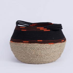 China Bulk big cotton rope water hyacinth straw seagrass toy clothes woven storage straw round basket bags with handles on sale