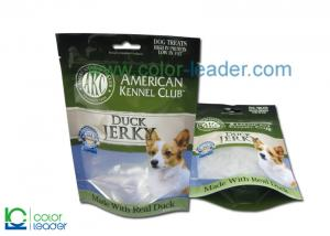 China Animal Feed Packaging Pet Food Zipper Bag With Clear Window And Hanging Hole on sale