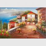 Mediterranean Sea Oil Painting Impression Coastline Landscape Painting for Decor