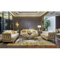 China Luxury villa interior furniture custom made high end fabric sofa set 123 light luxury hand made leaf for wood structure on sale