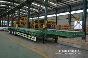 China 4 axles low bed semi trailer for transport heavy cargo and price low bed trailer low prices on sale