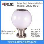 LED Round Solar Pillar Lights White Globular E27 Solar Post Pole Column Light For Community Park School Garden