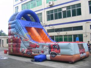 China Customized Outdoor Inflatable Slide / Commercial Fire Truck Inflatable Slide on sale